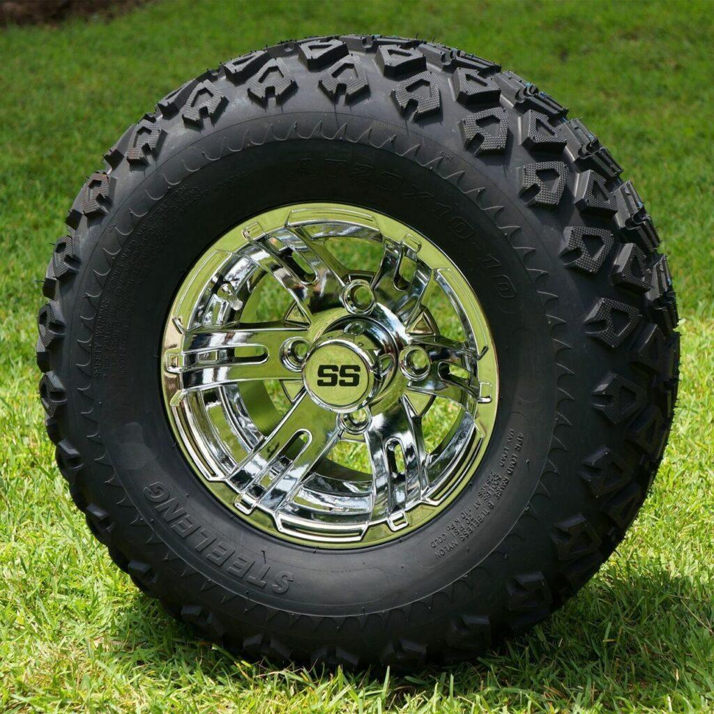 "10"" BULLDOG Machined Golf Cart Wheels and tires"