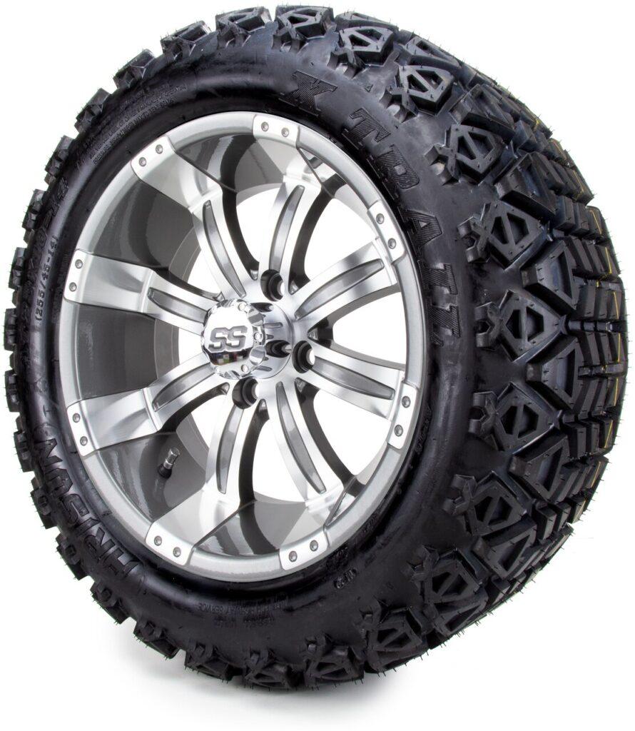 "14"" MODZ Vampire Gunmetal Golf Cart Wheels and tires"