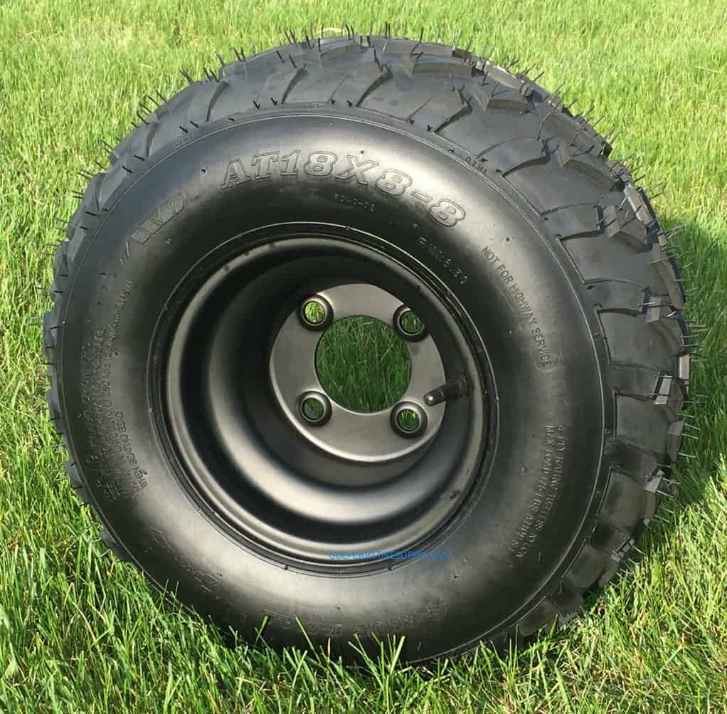"8"" Black Steel Golf Cart Wheels and tires"